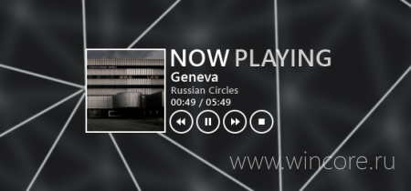 Metro NOW PLAYING — панель управления плеером для Rainmeter