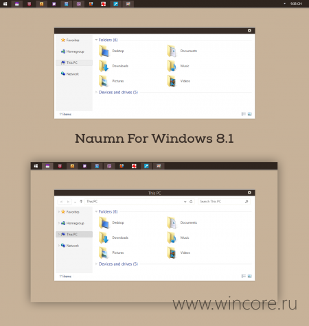 Naumn — стильная тема для Windows 8.1
