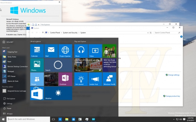 Скриншоты Windows 10 Enterprise Insider Preview 10120 и 10123