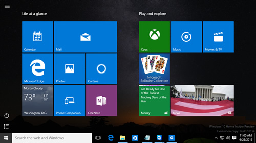 ��������� � ����� Windows 10 Insider Preview Build 10154