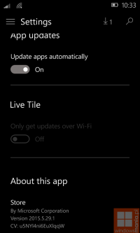 � ���� ������������ ��������� Windows 10 Mobile 10134