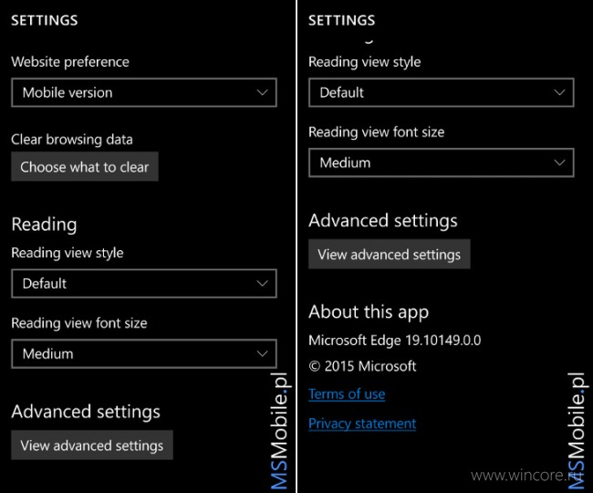 Скриншоты Windows 10 Mobile build 10149