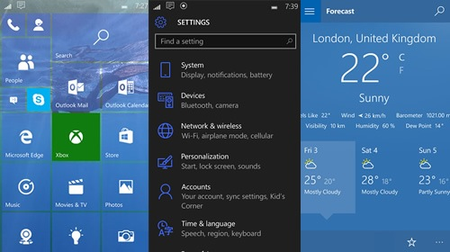 Ещё немного изображений Windows 10 Mobile Insider Preview 10158