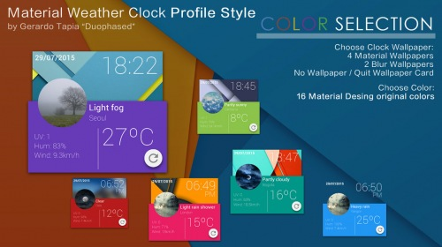 Material Profile Weather Clock — виджет часов и погоды для XWidget