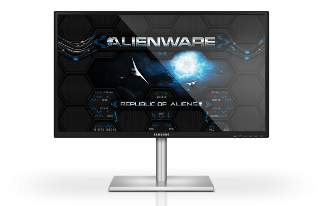 Alienware Wormhole BLUE — футуристичный скин для Rainmeter