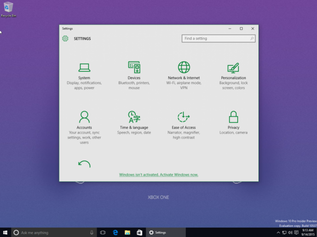 Скриншоты Windows 10 Insider Preview 10537