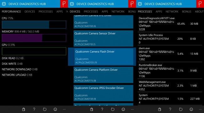 Device Diagnostics HUB — простой диспетчер задач для Windows 10 Mobile