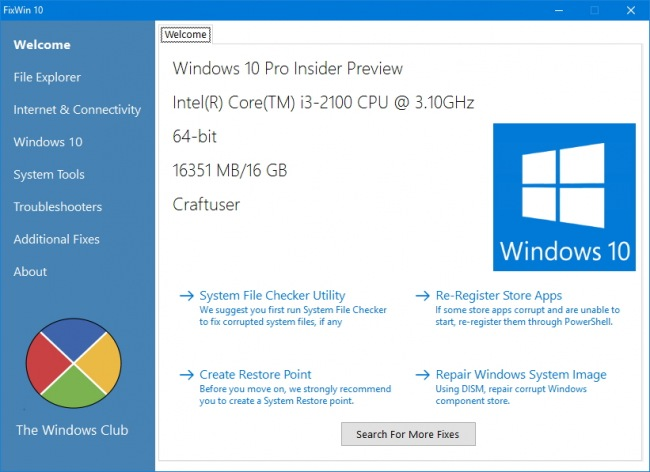 FixWin 10  � ���������� ����� ������������� ��������� Windows 10
