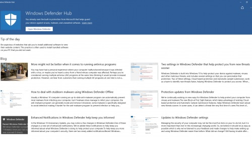В Магазине Windows обнаружено приложение Windows Defender Hub