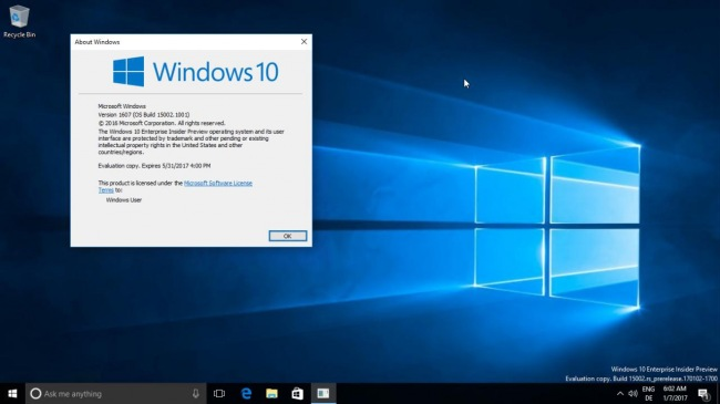 В сеть утекла Windows 10 Creators Update с номером сборки 15002