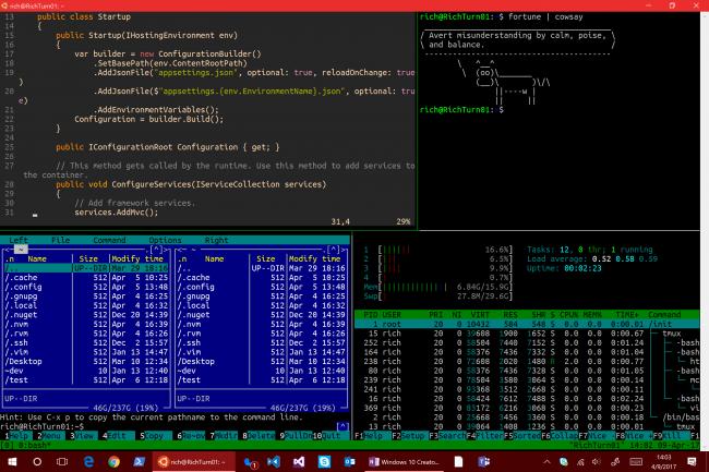 Creators Update: улучшения для Консоли Windows и Bash/WSL