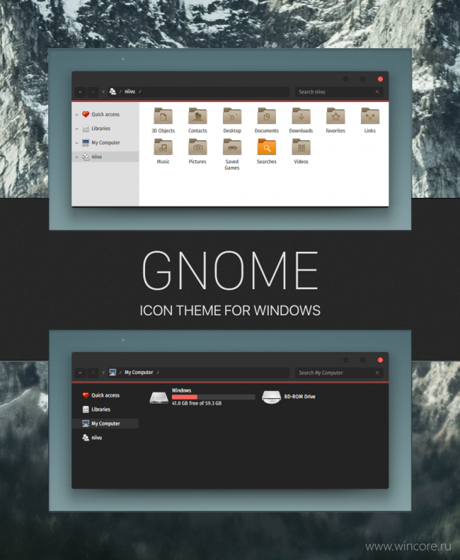 Gnome — иконки для Windows 10